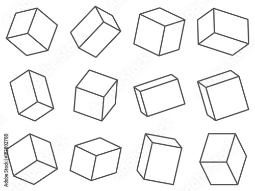 Set of spatial boxes. Group of dimensional rectangular shapes. - 182802788
