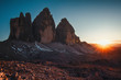Quadro Tre Cime di Lavaredo at sunset in the Dolomites in Italy, Europe