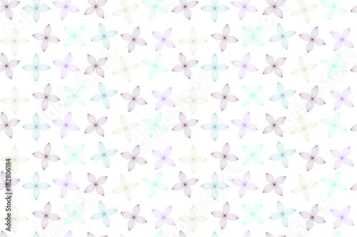 Seamless Geometric Flowers on White - 182806184