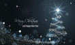 Christmas and New Year glowing blue vector banner with snow wave, glitter, stars, snowflakes and christmas tree.
