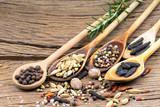 Nahaufnahme von fünf Kochlöffeln aus Holz mit verschiedenen exotischen Gewürzen auf rustikalem Holzhintergrund mit weiteren Gewürzen und Textfreiraum - 182809178