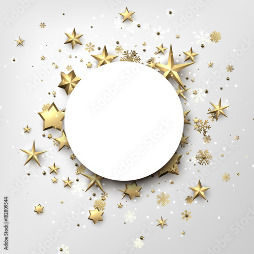 Round winter background with stars and snowflakes. - 182809544