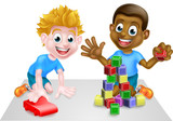Cartoon Boys Playing With Toys