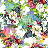 Bouquet flower pattern in a watercolor style. Full name of the plant: bouquet. Aquarelle wild flower for background, texture, wrapper pattern, frame or border.