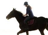 Young pretty girl - riding a horse - 182812967