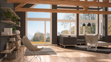 Living room of luxury eco house, parquet floor and wooden roof trusses, panoramic window on autumn meadow, modern white and gray interior - 182814919