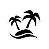 Icono plano palmeras en isla negro en fondo blanco - 182817564