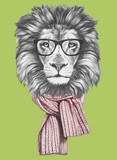Portrait of Lion with glasses and scarf. Hand-drawn illustration. - 182817598