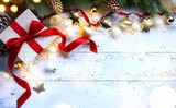 Christmas holidays composition on wooden background; Christmas tree decoration and copy space for your text - 182821783