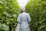 Scientist walking through a greenhouse isle - 182823987