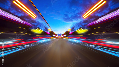 Abstract background of high speed moving in night city - 182826967