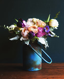 Rustic vase with a beautiful bouquet - 182827368