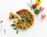 Delicious Pizza Isolated on White - 182827578