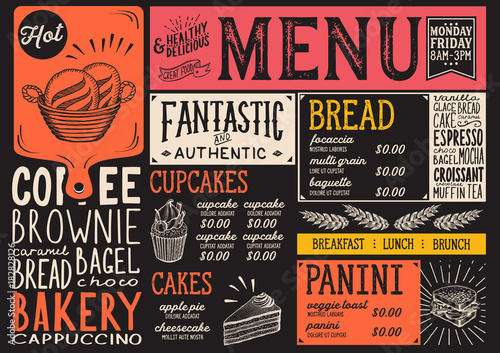 Bakery menu restaurant, food template.