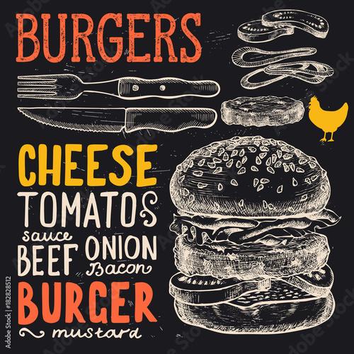 Fototapeta Burger poster for menu restaurant.