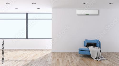 Modern bright interior with air conditioning 3D rendering illustration © 3DarcaStudio