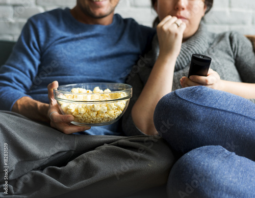 Sticker Couple Watching TV Home Relax Togetherness