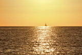 sailboat on the sunset in the mediterranean sea, - 182831940
