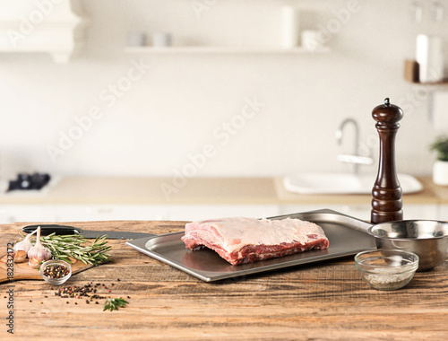 Foto op Canvas Steakhouse meat steak on kitchen