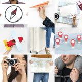 Set of People Traveling Journey Studio Collage - 182834363