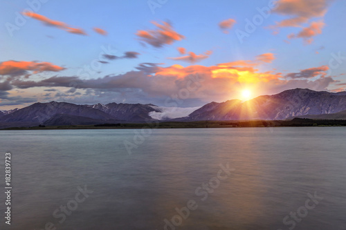 Plexiglas Fyle Lake Tekapo at sunset