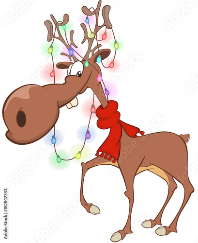 Deurstickers Babykamer Illustration of Christmas DeerCartoon Character