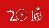 2018 bicycle happy new year on red background - 182843311