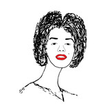 beautiful woman with red lips. vector illustration ai10
