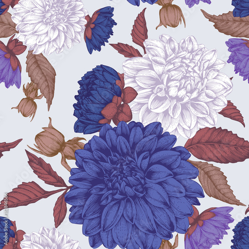 Vector floral seamless pattern with hand drawn dahlias - 182846586