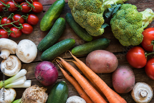 Poster Fresh vegetables  on the wood plate