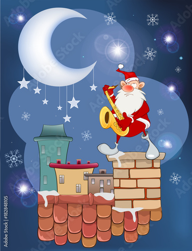 Deurstickers Babykamer Illustration of the Cute Santa Claus Saxophonist on the Roof
