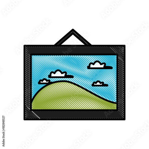 Foto op Plexiglas Wit Landscape photo frame icon vector illustration graphic design