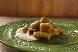 vegan banana gnocchi with white sauce - 182853587