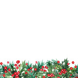watercolor christmas seamless border