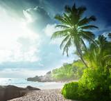 sunset on Seychelles beach - 182855735