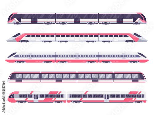 Fototapeta Set of passenger train. Subway transport underground train. Metro train vector illustration