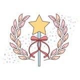 cute wand star ribbon accessory for princess ballet girl vector illustration