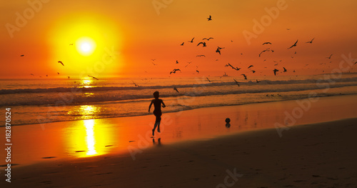 Fotobehang Strand Kid running after a ball at the beach with an orange sunset and gulls