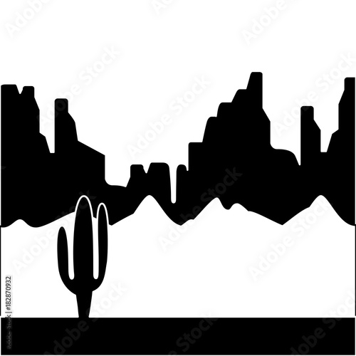 Fotobehang Zwart desert landscape with cactus and mountains vector illustration