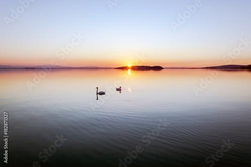 Plexiglas Pier Sunset at Lake Trasimeno