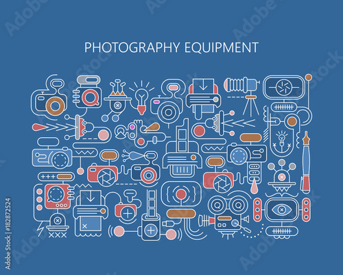 Fotobehang Abstractie Art Photography equipment vector banner template