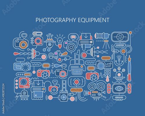 Tuinposter Abstractie Art Photography equipment vector banner template