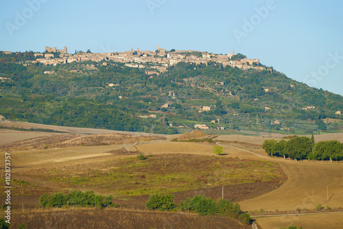 Staande foto Toscane View of the city of Montalcino on a September day. Tuscany, Italy