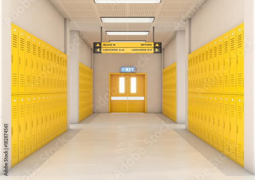 Yellow School Lockers Light