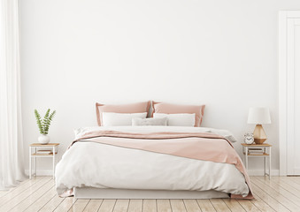 Light, cute and cozy home bedroom interior with unmade bed, pink plaid and cushions on empty white wall background. 3D rendering.