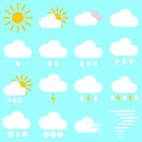 Flat simple image with sun, clouds, rain, lightning, snow, wind, breeze, hailstones, storm isolated on blue background. Collection of weather icons. Vector illustration set for weather forecasting. - 182876519