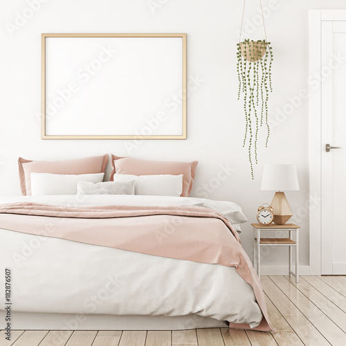 Interior poster mock up with horizontal frame on the wall in home bedroom interior. 3D rendering.