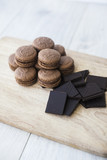 background of chocolate macaroons - 182876937