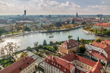 Wroclaw, Lower Silesia, Poland, October 15, 2017; View of Ostrow Tumski district in Wroclaw from Cathedra Tower  - 182880129