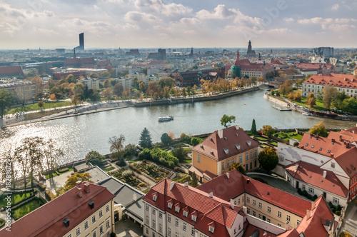Wroclaw, Lower Silesia, Poland, October 15, 2017; View of Ostrow Tumski district in Wroclaw from Cathedra Tower